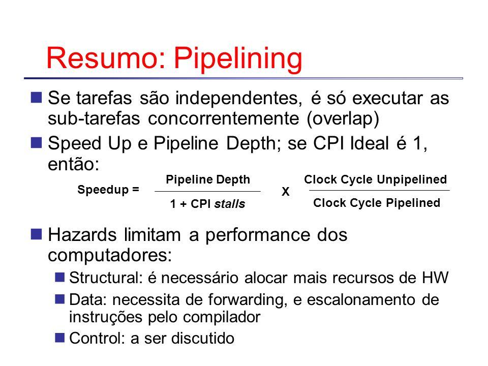 Resumo: PipeliningSe tarefas são independentes, é só executar as sub-tarefas concorrentemente (overlap)