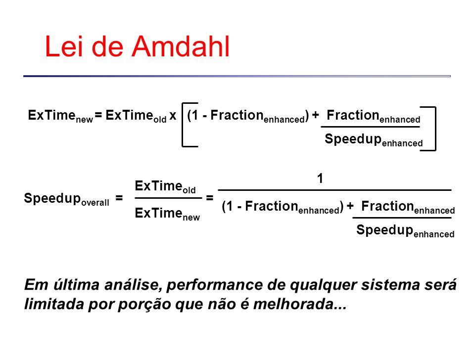 Lei de AmdahlExTimenew = ExTimeold x (1 - Fractionenhanced) + Fractionenhanced. Speedupenhanced.