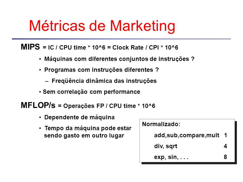 Métricas de Marketing MIPS = IC / CPU time * 10^6 = Clock Rate / CPI * 10^6. Máquinas com diferentes conjuntos de instruções