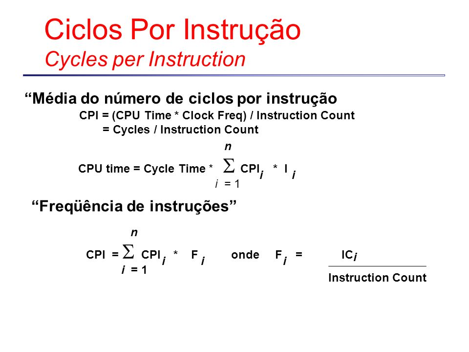 Ciclos Por Instrução Cycles per Instruction