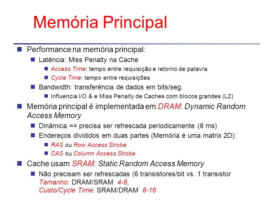 Memória Principal Performance na memória principal:
