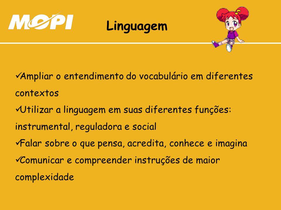 Linguagem Ampliar o entendimento do vocabulário em diferentes contextos.