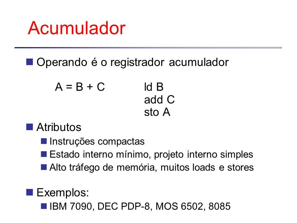 Acumulador Operando é o registrador acumulador A = B + C ld B add C sto A. Atributos. Instruções compactas.