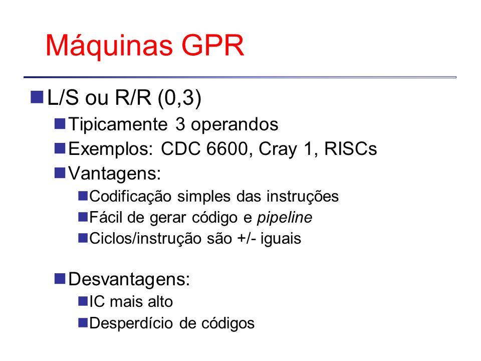 Máquinas GPR L/S ou R/R (0,3) Tipicamente 3 operandos