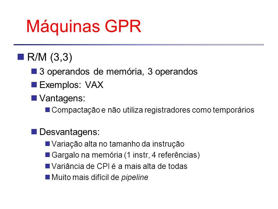 Máquinas GPR R/M (3,3) 3 operandos de memória, 3 operandos