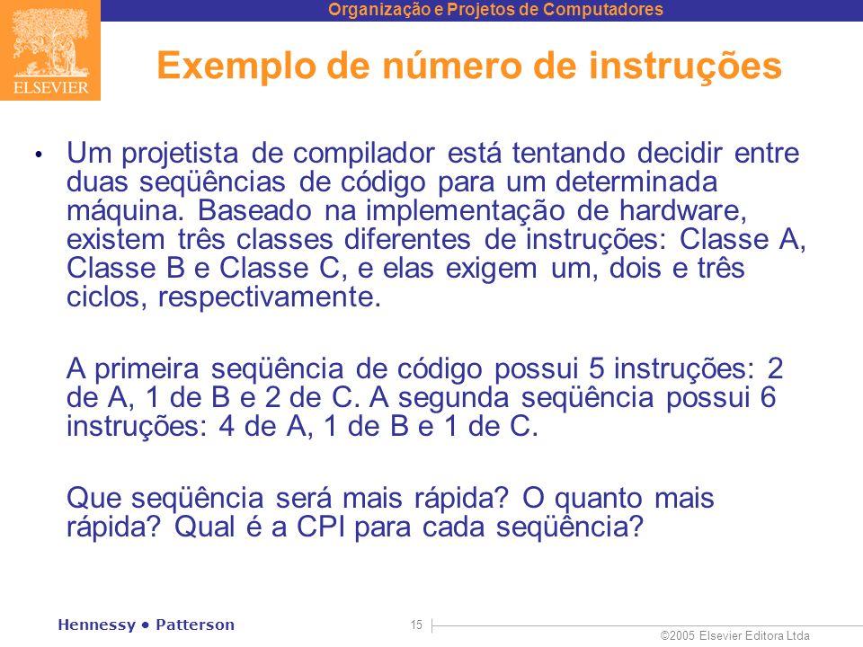 Exemplo de número de instruções