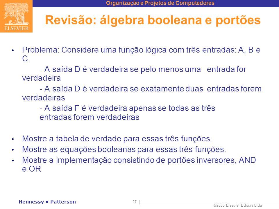 Revisão: álgebra booleana e portões