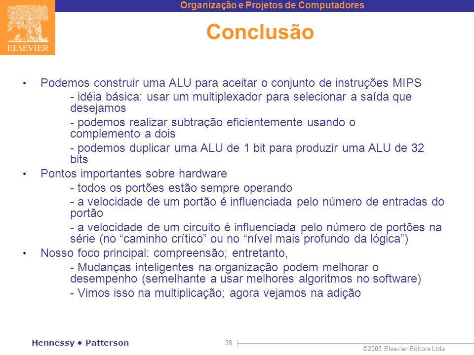 Conclusão Podemos construir uma ALU para aceitar o conjunto de instruções MIPS.