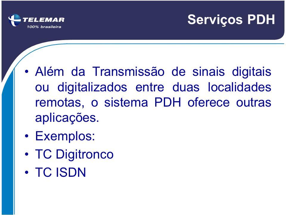 Serviços PDH Além da Transmissão de sinais digitais ou digitalizados entre duas localidades remotas, o sistema PDH oferece outras aplicações.