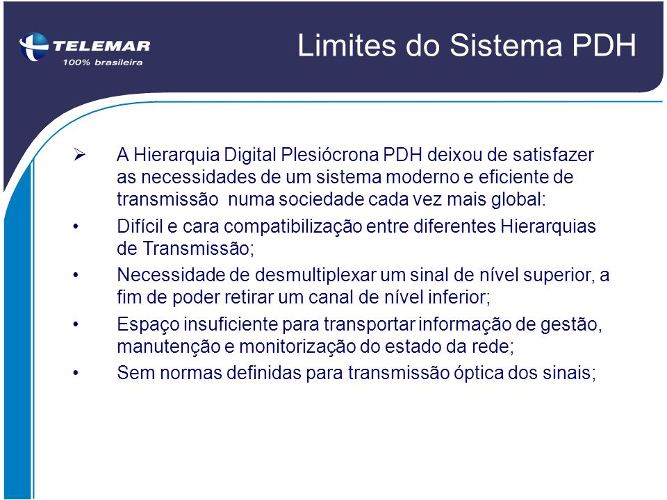 Limites do Sistema PDH