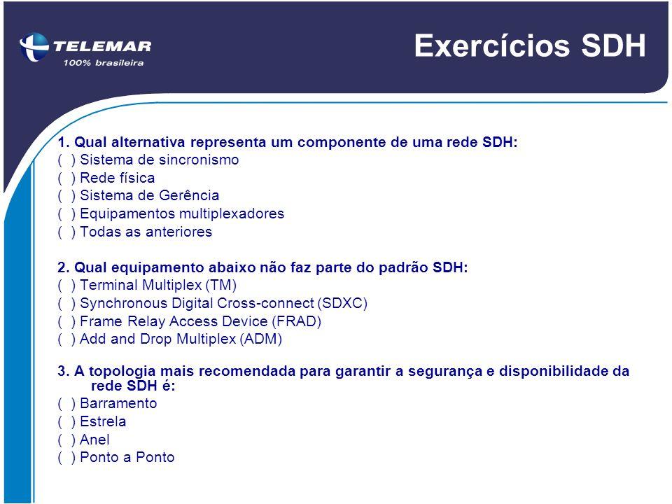 Exercícios SDH 1. Qual alternativa representa um componente de uma rede SDH: ( ) Sistema de sincronismo.