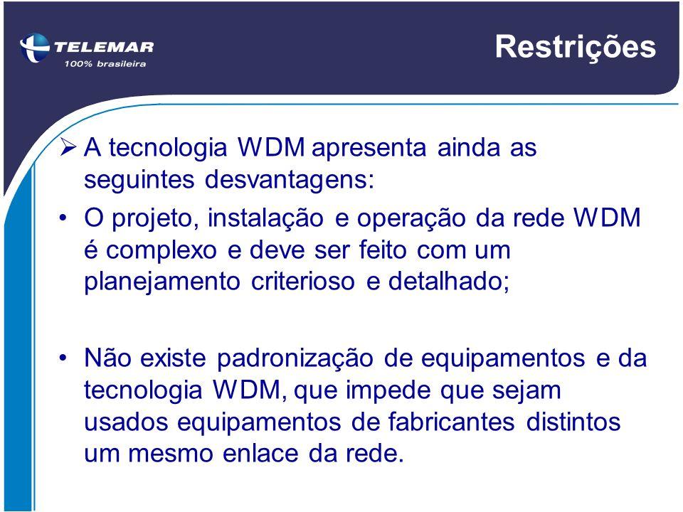 Restrições A tecnologia WDM apresenta ainda as seguintes desvantagens: