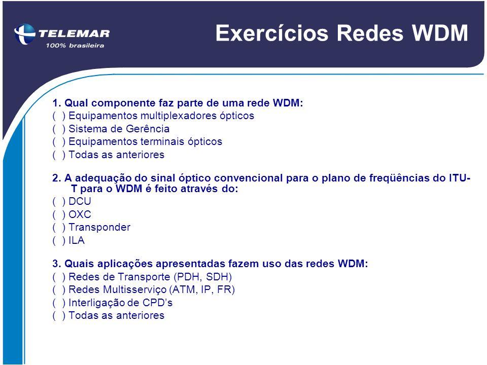 Exercícios Redes WDM 1. Qual componente faz parte de uma rede WDM: