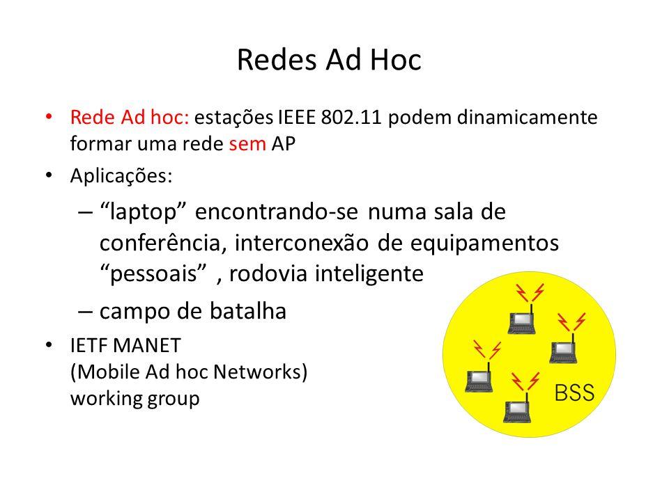 Redes Ad Hoc Rede Ad hoc: estações IEEE 802.11 podem dinamicamente formar uma rede sem AP. Aplicações: