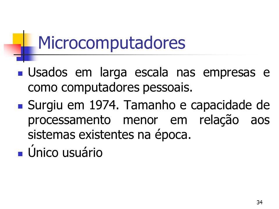 Microcomputadores Usados em larga escala nas empresas e como computadores pessoais.