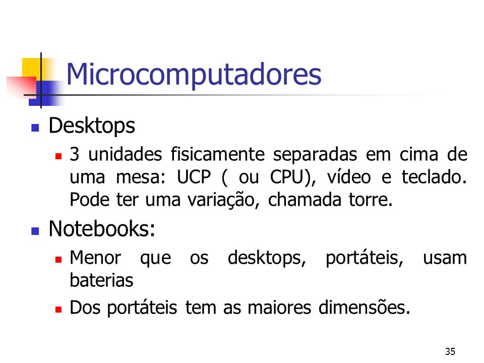 Microcomputadores Desktops Notebooks: