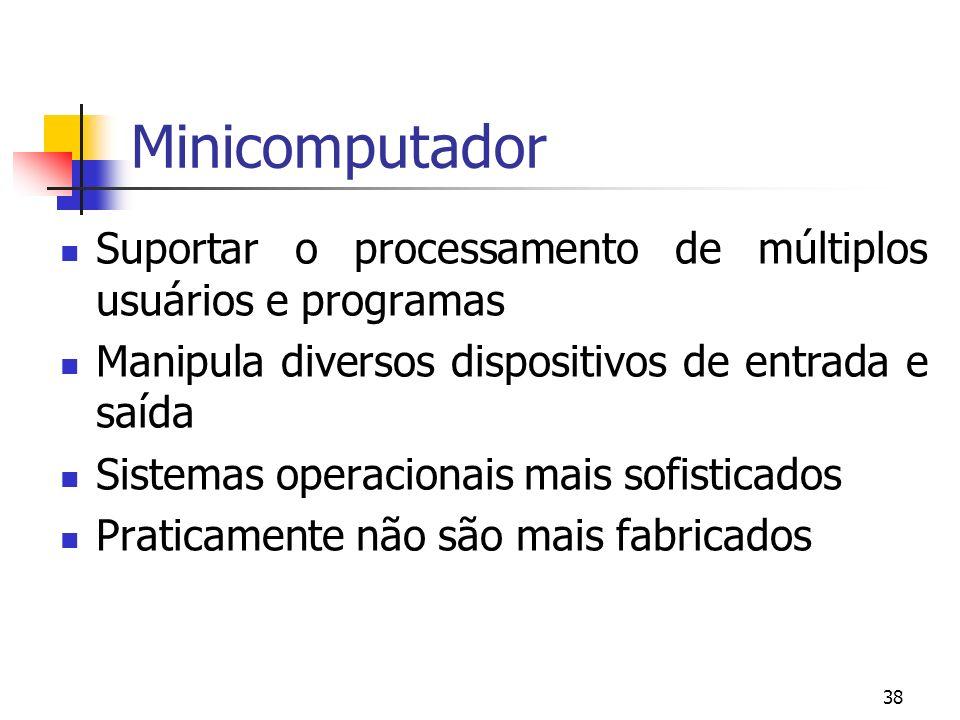 Minicomputador Suportar o processamento de múltiplos usuários e programas. Manipula diversos dispositivos de entrada e saída.