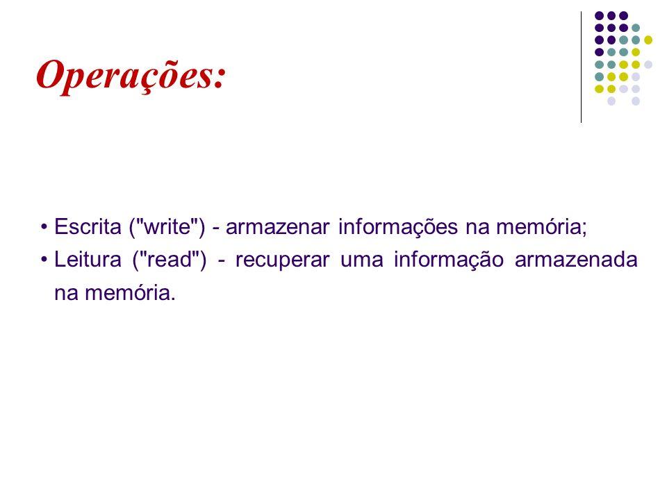 Operações: Escrita ( write ) - armazenar informações na memória;
