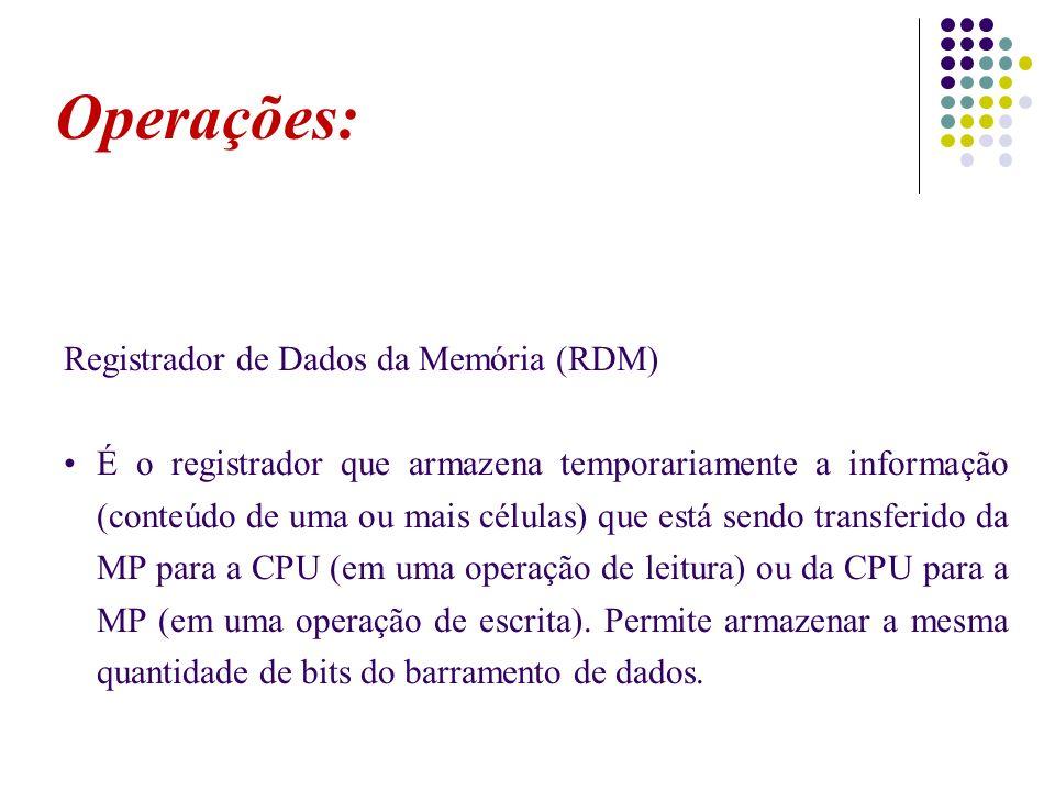 Operações: Registrador de Dados da Memória (RDM)