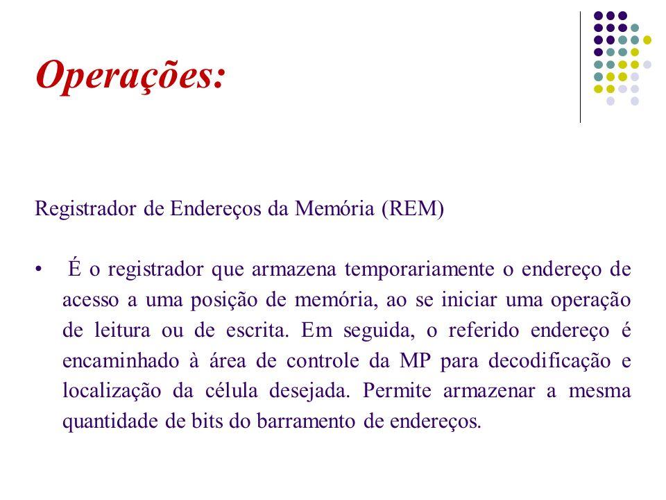 Operações: Registrador de Endereços da Memória (REM)