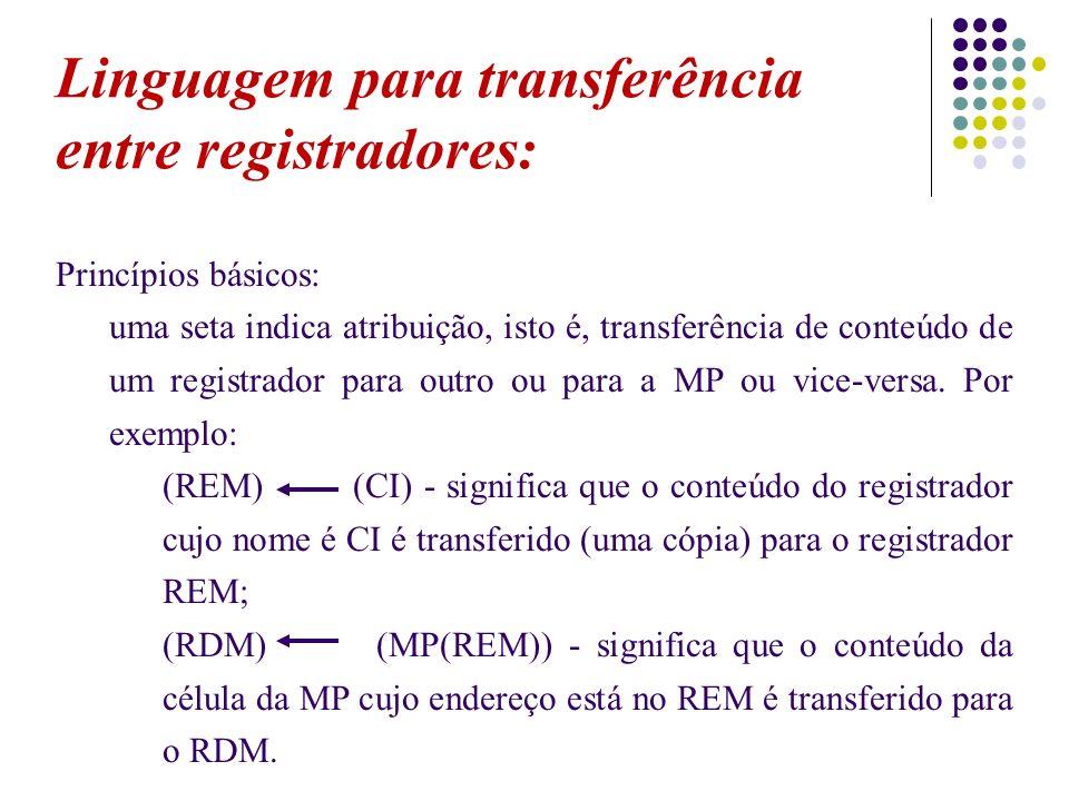 Linguagem para transferência entre registradores: