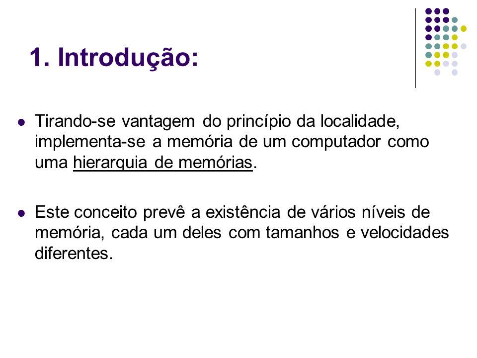 1. Introdução: Tirando-se vantagem do princípio da localidade, implementa-se a memória de um computador como uma hierarquia de memórias.