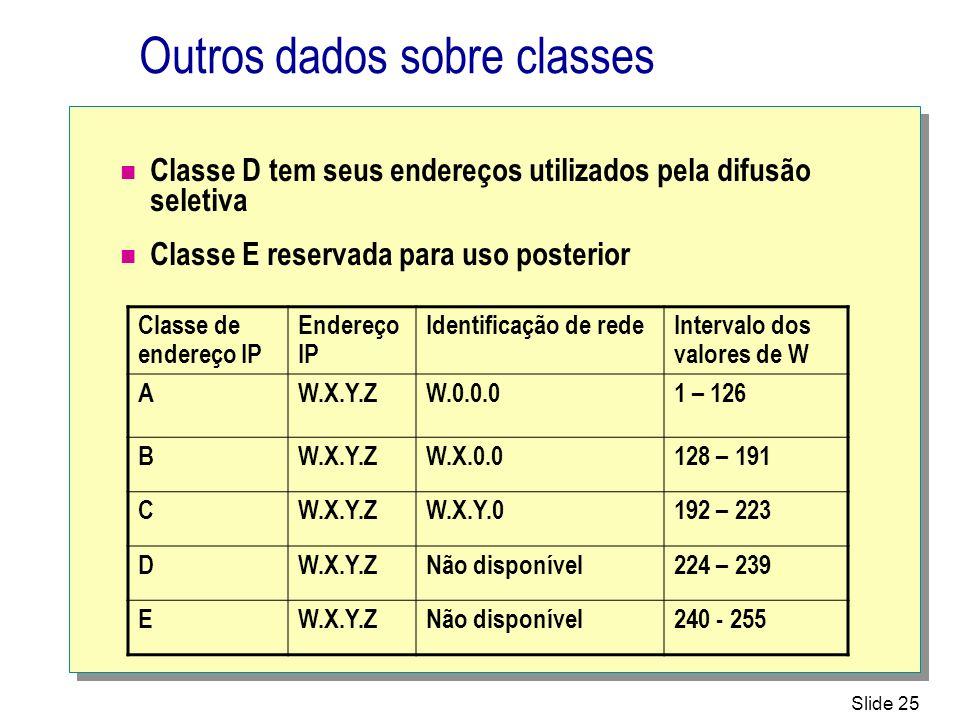 Outros dados sobre classes