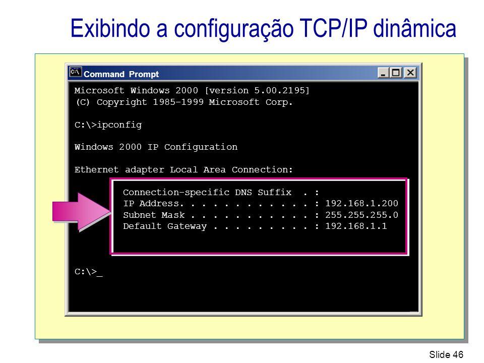 Exibindo a configuração TCP/IP dinâmica