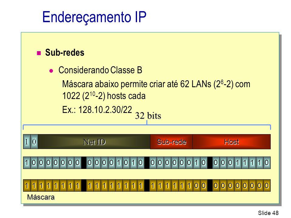 Endereçamento IP Sub-redes Considerando Classe B