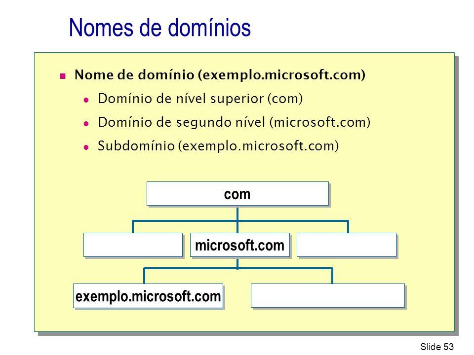 Nomes de domínios com microsoft.com exemplo.microsoft.com