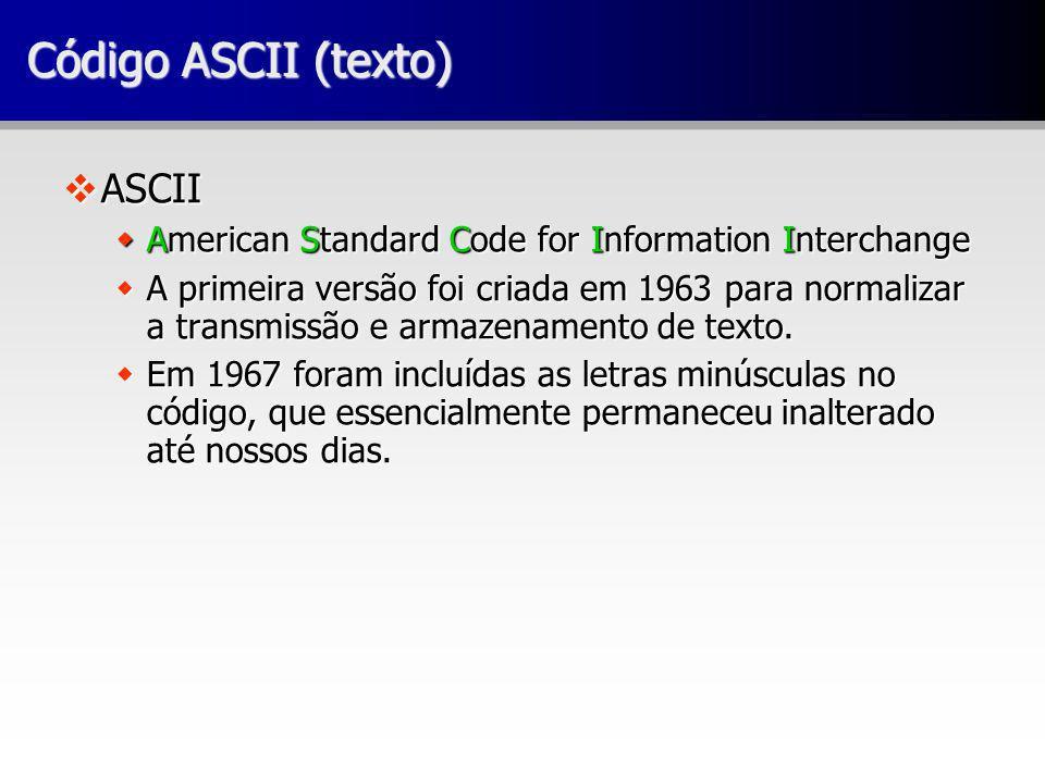 Código ASCII (texto) ASCII