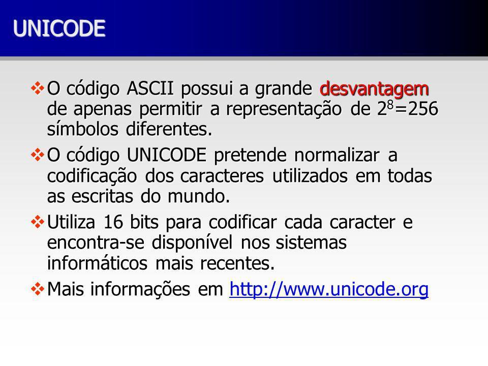 UNICODE O código ASCII possui a grande desvantagem de apenas permitir a representação de 28=256 símbolos diferentes.