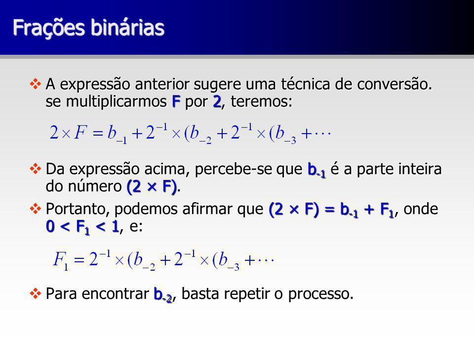 Frações binárias A expressão anterior sugere uma técnica de conversão. se multiplicarmos F por 2, teremos: