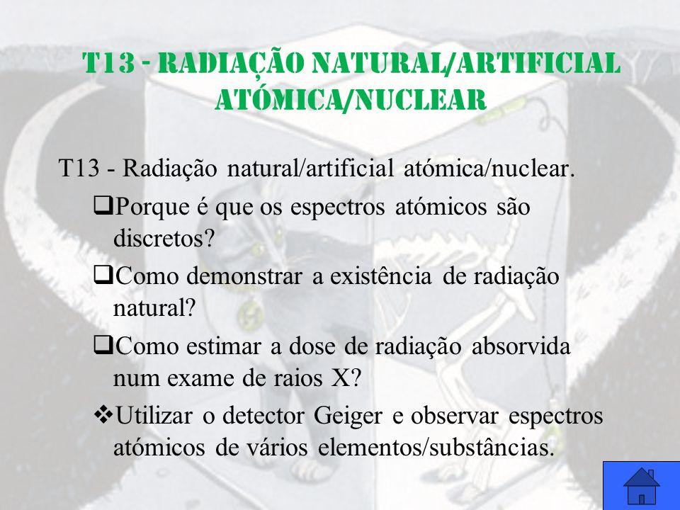 T13 - Radiação natural/artificial atómica/nuclear