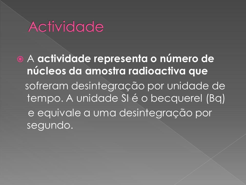 Actividade A actividade representa o número de núcleos da amostra radioactiva que.