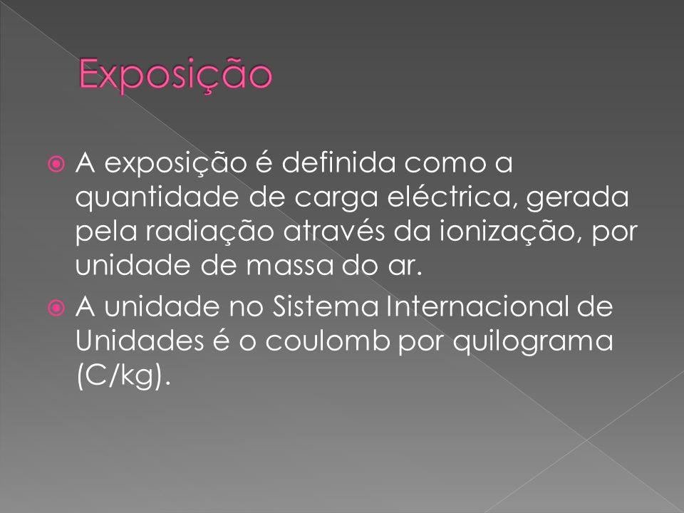 Exposição A exposição é definida como a quantidade de carga eléctrica, gerada pela radiação através da ionização, por unidade de massa do ar.