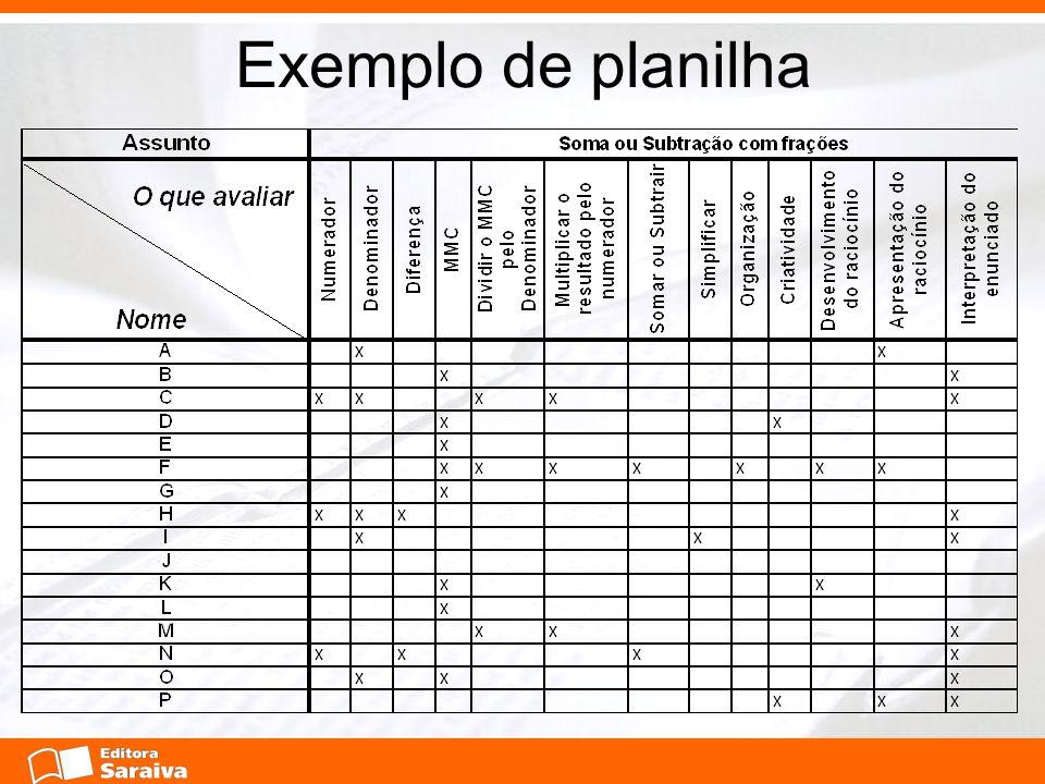 Exemplo de planilha