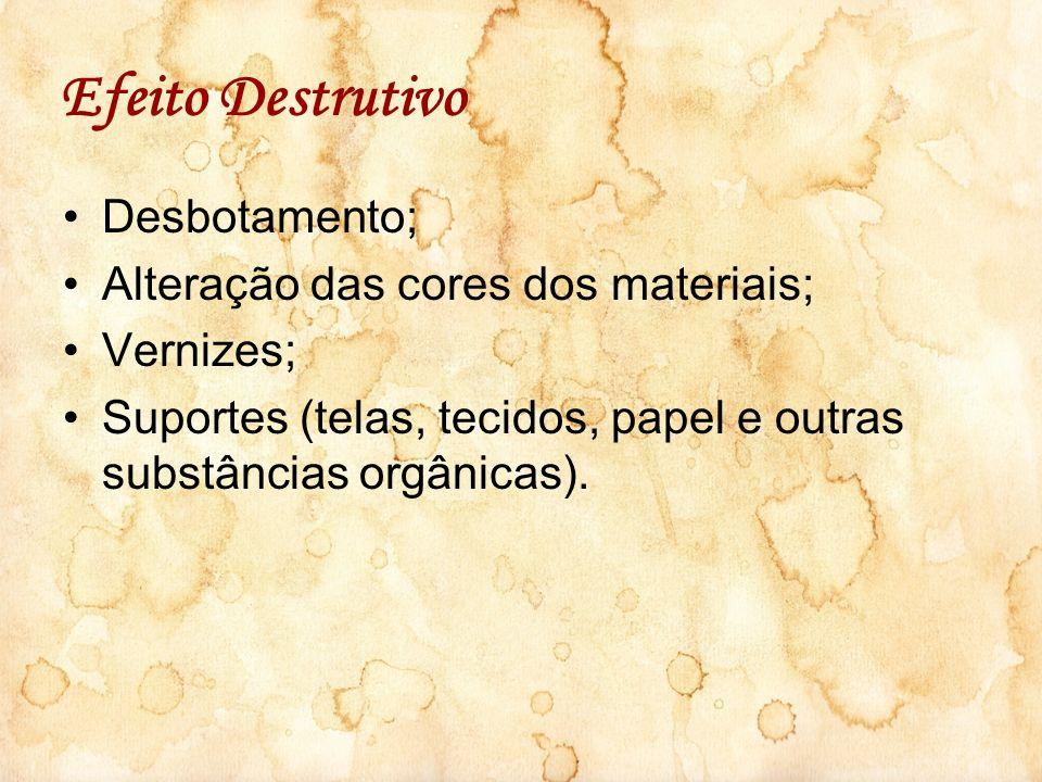 Efeito Destrutivo Desbotamento; Alteração das cores dos materiais;