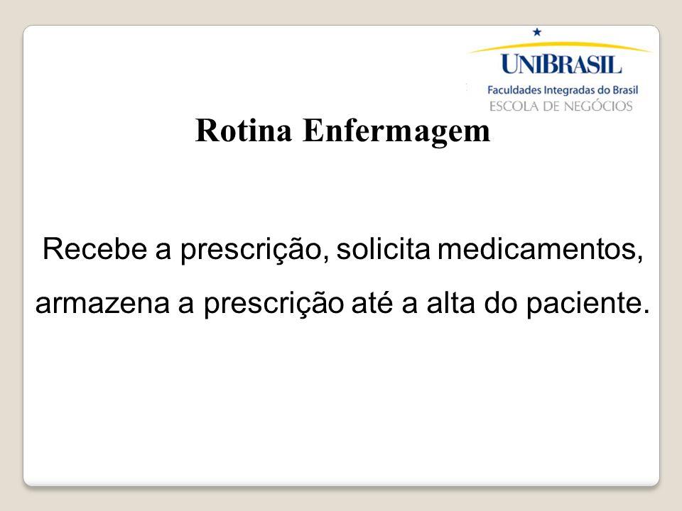 Rotina Enfermagem Recebe a prescrição, solicita medicamentos, armazena a prescrição até a alta do paciente.