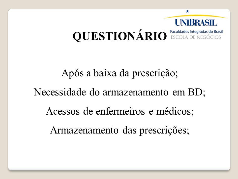 QUESTIONÁRIO Após a baixa da prescrição;