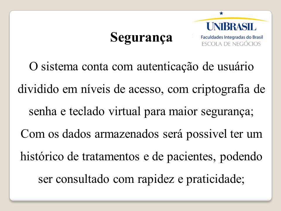 Segurança O sistema conta com autenticação de usuário dividido em níveis de acesso, com criptografia de senha e teclado virtual para maior segurança;