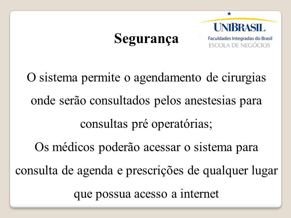 Segurança O sistema permite o agendamento de cirurgias onde serão consultados pelos anestesias para consultas pré operatórias;