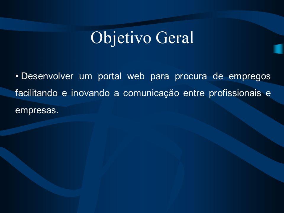 Objetivo GeralDesenvolver um portal web para procura de empregos facilitando e inovando a comunicação entre profissionais e empresas.
