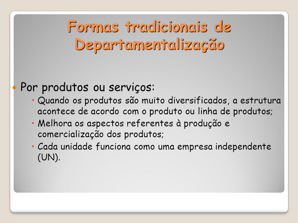 Formas tradicionais de Departamentalização
