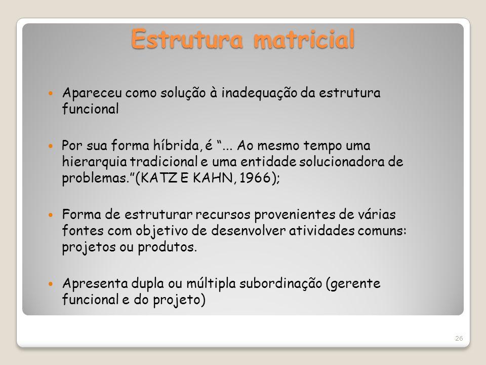 Estrutura matricial Apareceu como solução à inadequação da estrutura funcional.