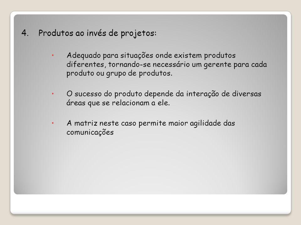 4. Produtos ao invés de projetos: