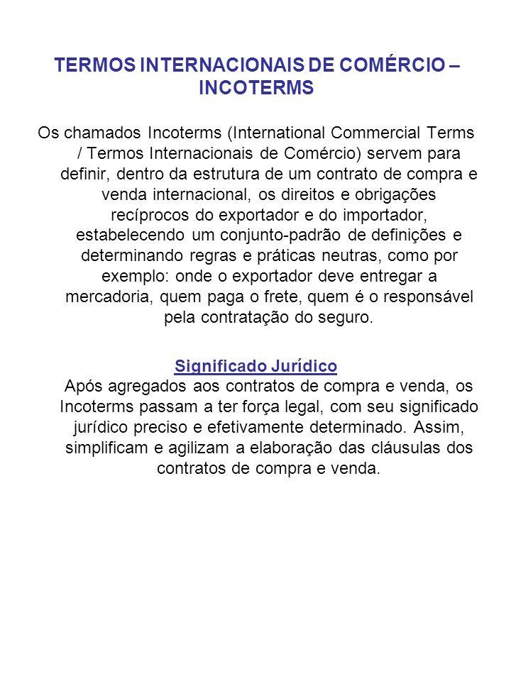TERMOS INTERNACIONAIS DE COMÉRCIO – INCOTERMS