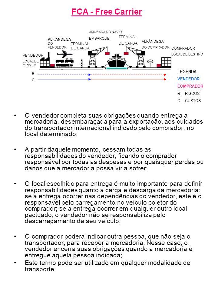 FCA - Free Carrier AMURADA DO NAVIO. EMBARQUE. TERMINAL. DE CARGA. ALF/ÃNDEGA DO VENDEDOR. ALFÂNDEGA.