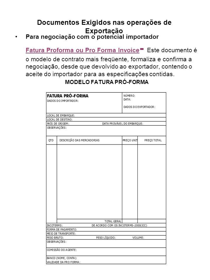 Documentos Exigidos nas operações de Exportação