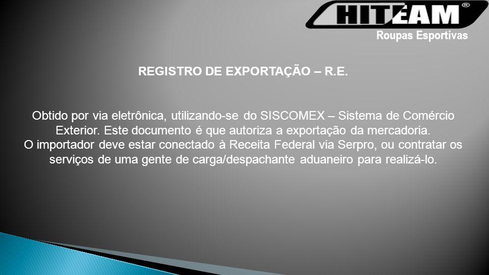 REGISTRO DE EXPORTAÇÃO – R.E.